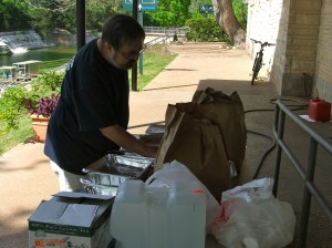 Food donated for volunteers cleaning the pool