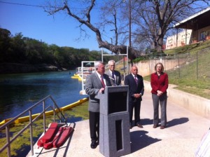 Mayor Lee Leffingwell announces the reopening of the Pool Saturday, March 30 2013.